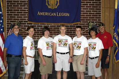Nine Harford boys attended and graduated from the American Legion 2013 Boys State program. Pictured, from right, are Russ Getz, commander of Harford Post 39 Kevin Porter, Bel Air High; Ryan White, Havre de Grace High; Matthew Martindale, Bel Air High; Stephen Siedlecki, Edgewood High; Manny Mastromanolis, C. Milton Wright High; and Chas Slimowicz, Boys State staff and Harford Post 39. Ê Not present for the picture were: Farhad Siddique - C. Milton Wright H.S., Tahir Senoussi - Harford Technical H.S., Daniel Gorski and Keenan Kros - Edgewood H. S.
