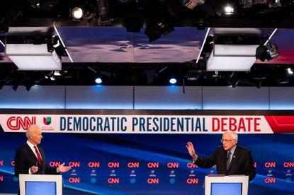 Vice President Joe Biden and Sen. Bernie Sanders during the Democratic presidential debate in Washington, March 15, 2020.