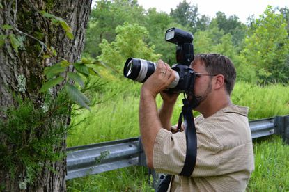 Bill Hubick photographs a lichen, a symbiotic community of algae and a fungus, on a tree trunk. Even the least charismatic of organisms are cataloged in the Maryland Biodiversity Project.