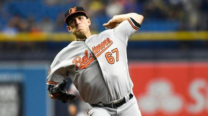 Baltimore Orioles pitcher John Means works in the first inning against the Tampa Bay Rays on Wednesday, July 3, 2019, at Tropicana Field in St. Petersburg, Fla.