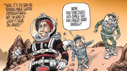 All the talk of interplanetary colonization shouldn't take away from our need to protect the Earth, David Horsey writes.