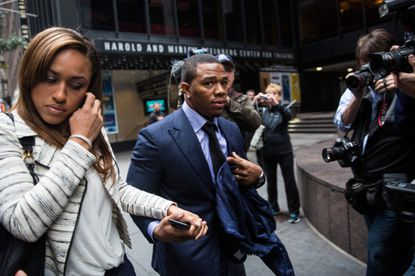 Ray Rice and his wife Janay are pictured arriving for his appeal hearing last week in New York.
