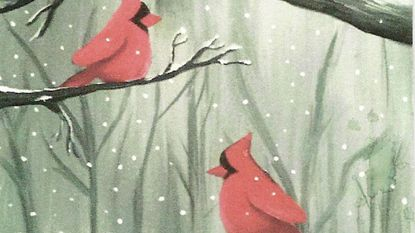 "Join the Hampstead Lioness Club for a Paint Nite fundraiser Monday, Jan. 29 and recreate this painting, ""2 Red Birds."""