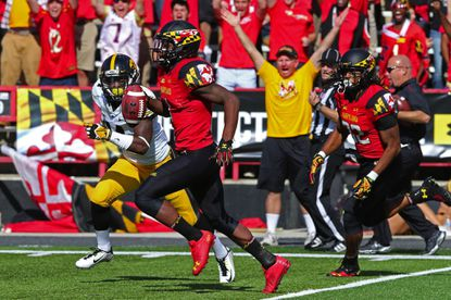 Maryland wide receiver Stefon Diggs runs for a touchdown after his catch against Iowa in a win last season at Byrd Stadium.