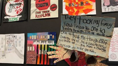Students of all ages in Baltimore schools offer anti-violence messages in artwork on display at Motor House.