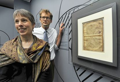 "Conservator Abigail Quandt and Curator Will Noel are the driving force behind the new Walters Art Museum exhibit ""Lost & Found: The Secrets of Archimedes."""