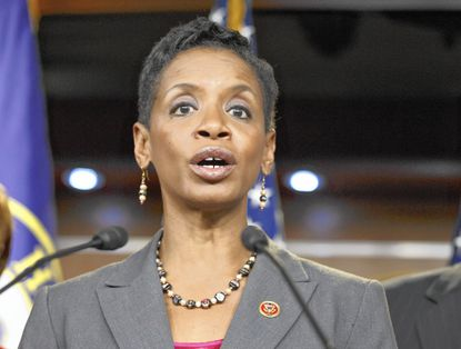 In this Nov. 17, 2014 file photo, Rep. Donna Edwards, D-Md. speaks on Capitol Hill in Washington. Edwards intends to join the race to replace retiring Sen. Barbara Mikulski, hoping to become the first African-American elected to the Senate from her state, according to officials familiar with her plans.