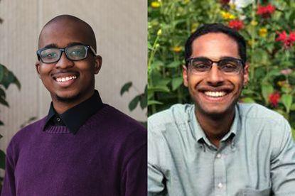 UMBC student Sam Patterson, left, Johns Hopkins alumnus Vijayasundaram Ramasamy are 2021 Rhodes scholars.