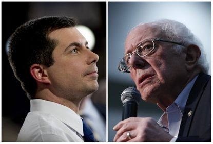 Democratic presidential candidate former South Bend, Ind., Mayor Pete Buttigieg, left, and at right Democratic presidential candidate Sen. Bernie Sanders, I-Vt.