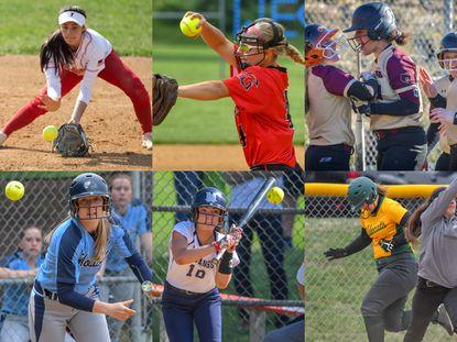 Members of the Howard County softball senior class (clockwise from top left) Centennial's Lauren Marcotte, Glenelg's Kathryn Hoffman, Hammond's Makenzie Brooks, Howard's Paige Eakes, Marriotts Ridge's Madi Costigan and Wilde Lake's Rachel Van Osdel.
