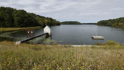 The earthen dam at Piney Run lake is pictured Wednesday, October 9, 2019. The county has contracted a watershed study of the reservoir following an MDE Dam Safety spillway capacity analysis of the dam in 2016.