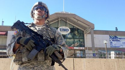 A National Guard presence was seen at the Inner Harbor outside Pratt Street pavilion at Harborplace in April 2015.