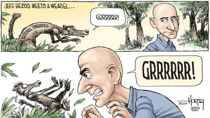 David Horsey: Jeff Bezos out-growls the weaselly National Enquirer.