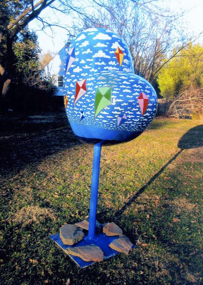 """Jonathan West of Bel Air painted this fiberglass heart sculpture for the """"Hearts of Harford"""" public art project sponsored by the Bel Air Downtown Alliance"""