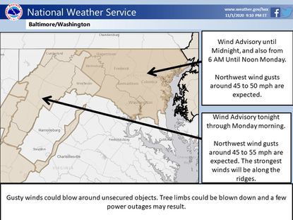 The Baltimore area is expecting strong, gusty winds overnight on Sunday and into the morning, according to the forecast. Photo via National Weather Service.