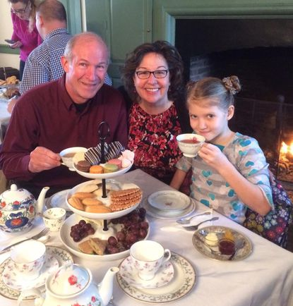 Ron and Shirley Querns and their granddaughter, Olivia Querns, at a tea at Steppingstone Farm Museum.
