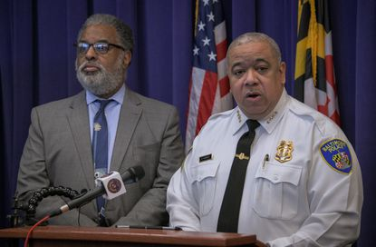 Baltimore Police Commissioner Michael Harrison, pictured with City Solicitor Andre Davis, said Wednesday that he understands the challenge he faces trying to get rank and file officers to support changes brought on by a federal consent decree. His remarks followed a hearing at which U.S. District Court Judge James K. Bredar said there is no choice.