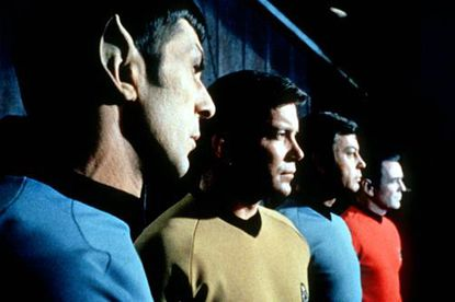 """The command crew of """"Star Trek"""" included Mr. Spock (Leonard Nimoy), Captain Kirk (William Shatner), Dr. McCoy (DeForest Kelley) and Engineer Scott (James Doohan). The series premiered 50 years ago this month, and sadly, The Sun was not among its biggest fans."""