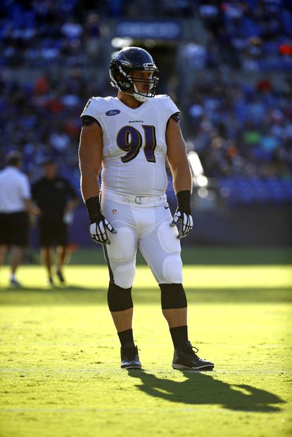 Baltimore Ravens defensive end Patrick Ricard, shown during a Ravens training camp practice in July, has been given the chance to play fullback.