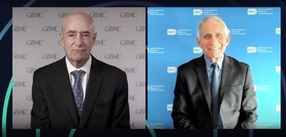 Dr. John Chessare, president of the Greater Baltimore Medical Center interviews Dr. Anthony Fauci, a lead immunologist on President Donald Trump's coronavirus task force, on Oct. 2.