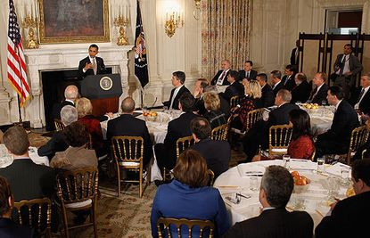 President Barack Obama addresses the members of the National Governors Association in the State Dining Room of the White House. The governors will conclude their three-day winter meeting today.