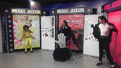 Michael Jackson Experience at The Presidents Gallery by Madame Tussauds in Washington DC features three wax figures spanning the lifetime of the pop icon.