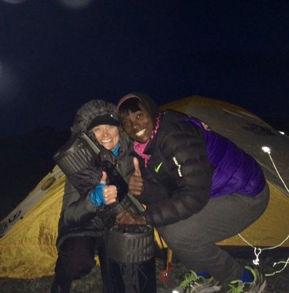 Kim Pursley of Forest Hill with her camping partner, Tee Morgan, in Antarctica.