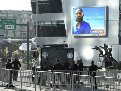 An armored vehicle belonging to the late rapper Nipsey Hussle, whose given name was Ermias Asghedom, appears at the Celebration of Life memorial service on Thursday, April 11, 2019, at the Staples Center in Los Angeles.