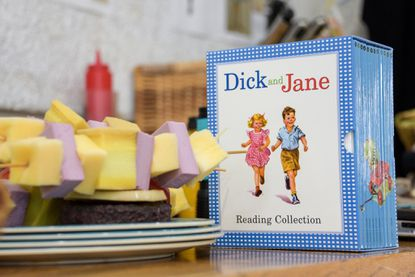 """A box of Dick and Jane books sits off to the side during a rehearsal of Noah Diaz's new play, """"Richard & Jane & Dick & Sally."""""""