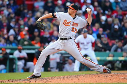 Zach Britton #53 of the Baltimore Orioles pitches against the Boston Red Sox during the ninth inning of the Red Sox home opener at Fenway Park on April 11, 2016 in Boston, Massachusetts. The Orioles defeat the Red Sox 9-7.