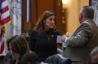 Del. Mary Ann Lisanti speaks with Del. Steve Johnson as she stands to leave the House Chamber during the 2019 session.