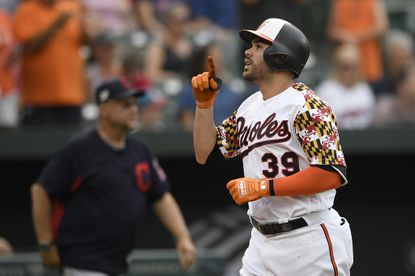 Baltimore Orioles' Renato Nunez celebrates his two-run home run during the fourth inning of a baseball game against the Cleveland Indians, Saturday, June 29, 2019, in Baltimore. (AP Photo/Nick Wass)