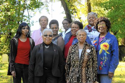 Members of the Cemetery Preservation Project: (Back, left to right): Cynthia Dark, Parthenia Colbert, Mary Cromwell (Middle, left to right): Matsudo Wallace, Elinor Thompson, Deborah Henson, Barbra Miles (Front, left to right):Patricia Hunt, Frances George