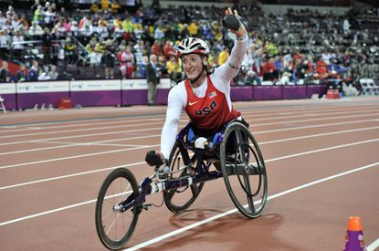 Tatyana McFadden celebrates winning the women's 800m T54 final at the London 2012 Paralympic Games.