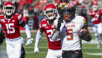 Maryland running back Anthony McFarland Jr. carries the ball for an 80-yard touchdown run against Rutgers during the third quarter Saturday Oct. 5, 2019, in Piscataway, N.J.