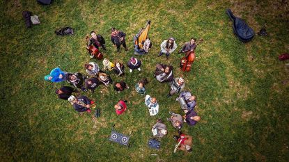 An aerial shot of the musicians who have performed as part of the Baltimore Boom Bap Society.