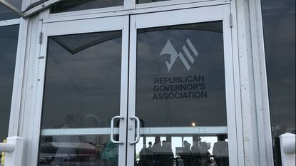 The Republican Governors Association had a large tent, where the group hosted a fundraiser starring Gov. Larry Hogan, which reporters were not allowed into.