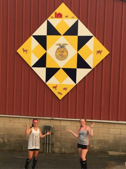 """The first selfie in the Barn Quilt Trail of Harford County, from Instagram account catherineshowalter, was posted through """"Passport"""" in the """"Destination Harford"""" App."""