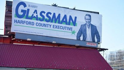 With the campaign season getting started in Harford County a new billboard for County Executive Barry Glassman sits nea rthe intersection of Route 1 and Harford Road near the state police barrack just outside Bel Air.