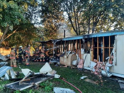 A fire Thursday destroyed Tania R. Barber's manufactured home in Whiteford and killed her German shepherd, Charlie.