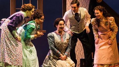"From left, Claudia Rosenthal, Ariana Wehr, Sarah Mesko, Jonas Hacker and Rachel Arky in ""Little Women"" at Annapolis Opera."