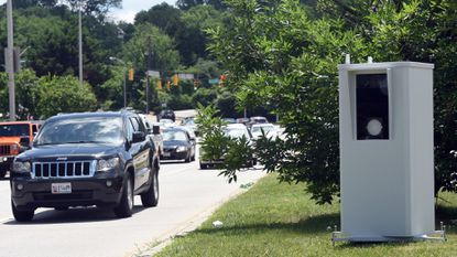 One of two new speed cameras deployed on Coldspring Lane near Falls Road. The portable cameras are near Baltimore Polytechnic Institute/Western High School. Kim Hairston/Baltimore Sun.