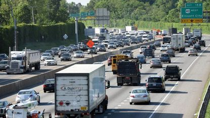 Traffic on I-695 between I-70 and Rt 40 slows on in May 2018.