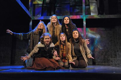"The chorus - from left, top row, Nancy Linden, Ali Evarts, Liza Skinner and bottom row, Eliza Geib, McKenzie Vergauwen and Chelsea Tuffy, in ""Murder at the Cathedral,"" at Compass Rose."