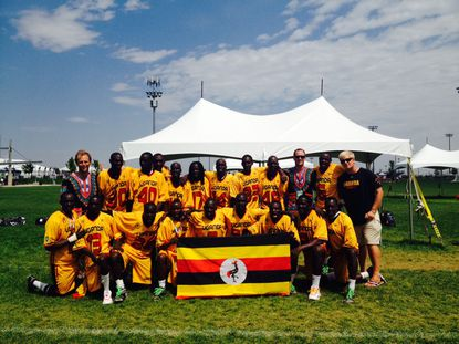 Members of the Uganda Lacrosse program at the Federation of International Lacrosse World Championships in Commerce City, Colo. GM Tyler Steinhardt (Boys' Latin) is on the back left. Coach Andrew Boston (Loyola High) is third from the right in the back row.