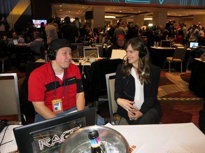 Glenn Clark with actress Jennifer Garner on Radio Row at Super Bowl XLVIII in New York. Feb. 2, 2014.