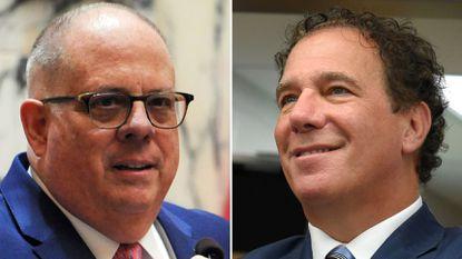 Gov. Larry Hogan, left, and Baltimore County Executive Kevin Kamenetz