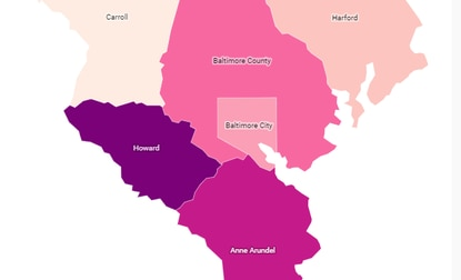 This map shows the highest volume of Paycheck Protection recipients by Maryland County.
