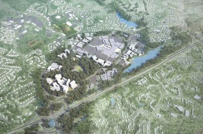 An aerial view of Howard Hughes Corp.'s revamped plans for the crescent property, which includes $5 million sq. ft. of retail, office, residential, a hotel, a swim center and state-of-the-art library.