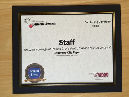 CP's MDCC Best of Show Award for Continuing Coverage